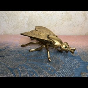 Vintage 7 Inch brass fly insect ashtray with gem